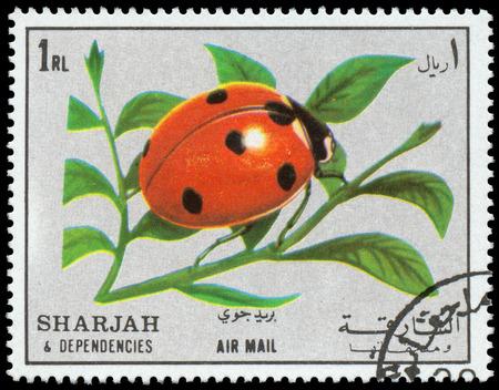 dependencies: SHARJAH AND DEPENDENCIES - CIRCA 1972  stamp printed by Sharjah and Dependencies, shows Ladybird, ladybug, circa 1972