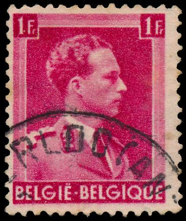 leopold: BELGIUM - CIRCA 1941: A stamp printed in Belgium, shows portrait Leopold III (1901-1983) King of the Belgians from 1934 until 1951, circa 1941  Editorial