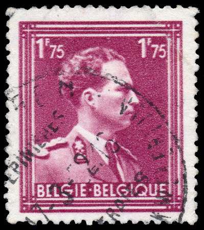 leopold: BELGIUM-CIRCA 1950:A stamp printed in BELGIUM shows image of Leopold III reigned as King of the Belgians from 1934 until 1951,circa 1950.