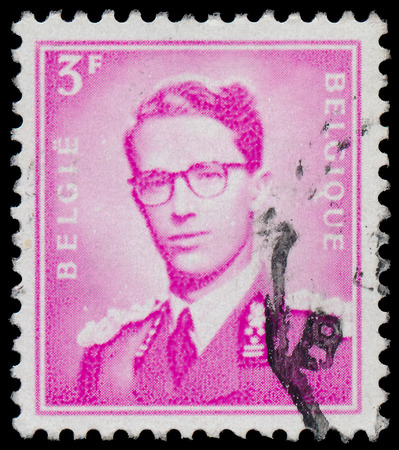 baudouin: BELGIUM - CIRCA 1958: A stamp printed in Belgium, shows Baudouin I of Belgium, circa 1958
