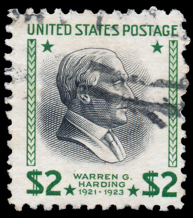 warren: UNITED STATES OF AMERICA - CIRCA 1938: A stamp printed in USA shows Warren Harding (1921-1923), circa 1938
