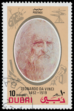 DUBAI - CIRCA 1968: stamp printed by Dubai, shows Leonardo da Vinci, circa 1968