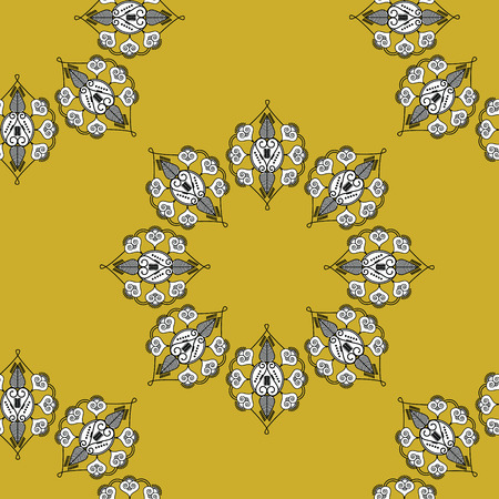 folk: Folk inspired wallpaper with flower shapes gold