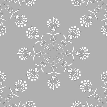traditional silver wallpaper: Round embroidery wallpaper with floral elements on silver background Illustration