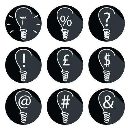 british pound: Ideas - bulbs set of icons with associated elements such as percent sign, exclamation mark, dollar sign, british pound, question mark, mailing sign , and ampersand