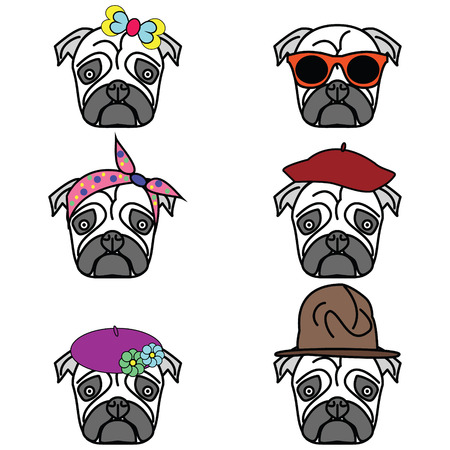 tacky: Pugs set of icons - pugs with different hats female and male types