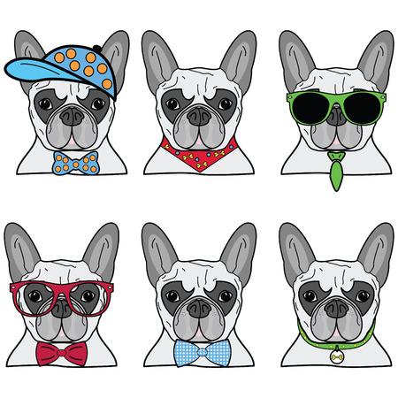 フレンチ ブルドッグの一連の六つのアイコンの異なる流行に敏感な犬