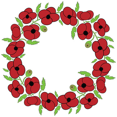 Poppy seeds flowers wreath with leaves and vary poppy seeds flowers Vector