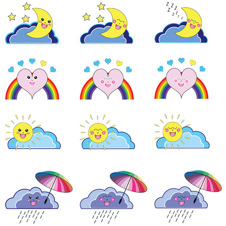 sonnenschirm: Kawaii Reihe von wetterbedingten Ikonen: mit Wolke, Sonne, Sonnenschirm, Mond Elemente