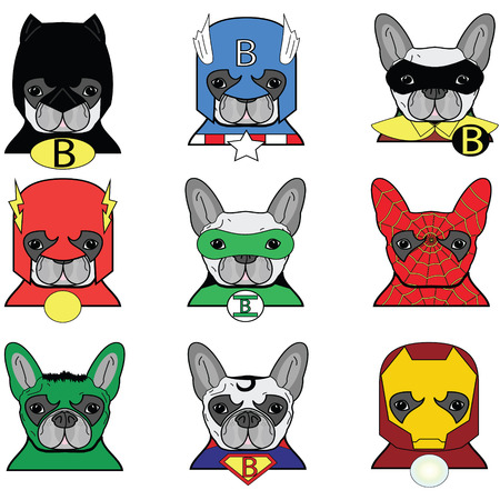 Franse bulldog Hond Heroes Icons Stock Illustratie