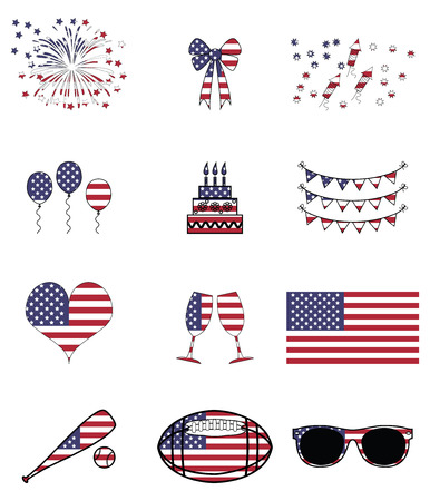 American celebration and symbols presented on the American flag background Vector