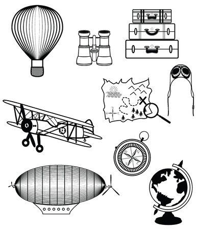 Vintage travel components presenting air plane, air ship, goggles, suitcases, compass, air balloon, treasure map with a loop, globe, hat, binocular Illustration