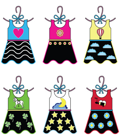 Girls wardrobe - dresses with vary decoration elements