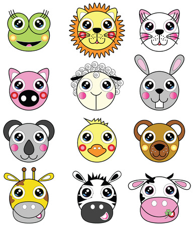 lion king: Cute animals such as frog, lion, cat, pig, sheep, bunny, koala bear, chick, bear, giraffe, zebra, cow,