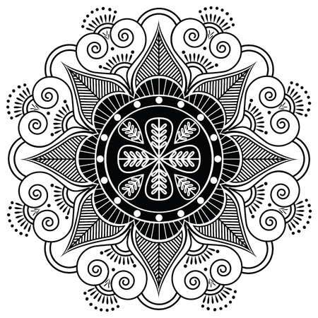 henna tattoo: Indian pattern surrounded with heart elements inspired by henna tattoo