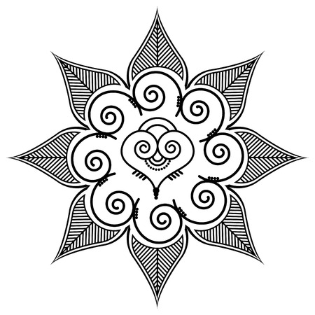 asymmetric: Shape with leaves and heart shape in the middle by henna tattoo