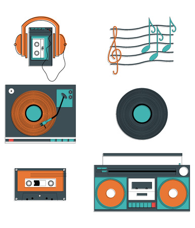 Music players and components with vintage elements such as record player, record, cassette, cassette players, headphones, notes