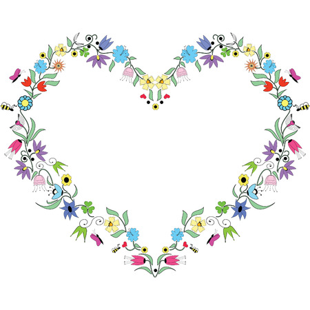 Spring inspired  Heart  Shape with colorful floral elements Vector