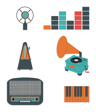 Music players and components vol 3 including  vintage microphone, sound and tune indicators, metronome, piano keys, gramophone, piano keys , retro radio