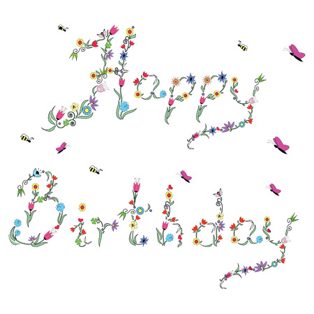 Spring Happy Birthday sign in color with floral elements Vector
