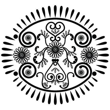 asian culture: Modello ovale ispirato da cultura asiatica e elementi tatuaggio all'henn�