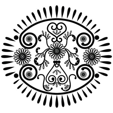 asian culture: Oval pattern inspired by Asian culture and henna tattoo elements