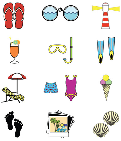 sun bed: Summer and  holidays attributes with following elements sun bed, umbrella, ice cream, flip flips, binoculars, light house, photos  from holidays, shells , bare feet, snorkeling equipment, flippers, swimming suit, swimming trunks,