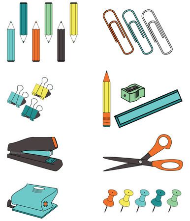office accessories such as, paper clips, ruler, pencil sharpener, crayons, stapler, two wholes punch , pins, clams, scissors