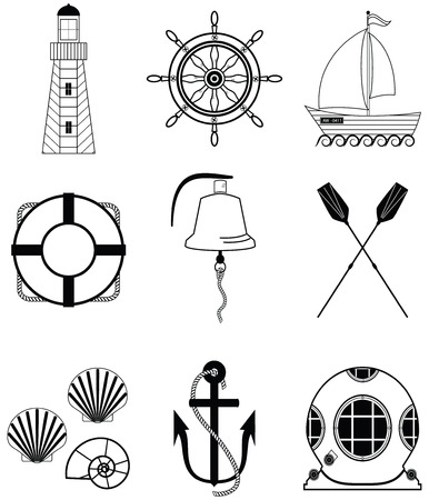 Nautical elements such as boat bell, boat, oars, rudder, vintage diving mask, life ring, light house, sea shells and anchor