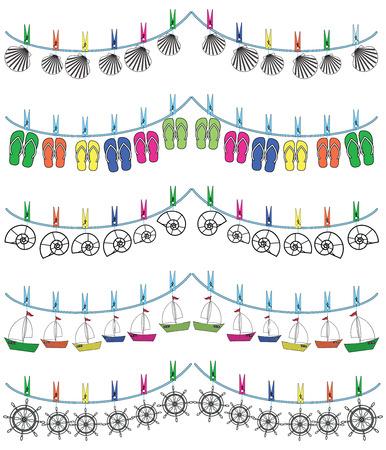 Nautical holiday bunting with seashells, flip flops, rudders, boats Vector