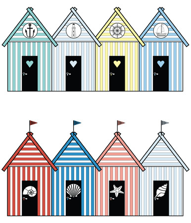 Beach houses including sea shells, star fish,  rudder, light house, anchor and boat Vector