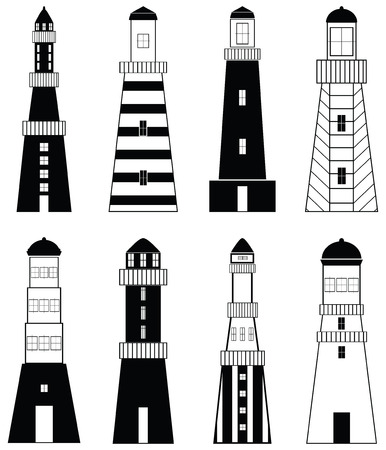 snorkelling: Lighthouses icons with vary stripes , shapes and windows elements in black and white design