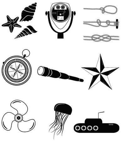 Nautical elements 2 including  sea shells. Star fish, beach telescope, nautical knots, telescope, star, jelly fish, submarine, vintage compass and boat engine element