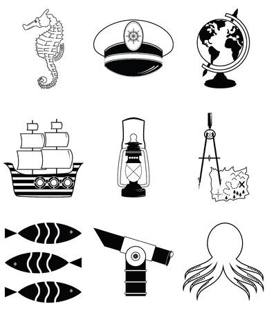 compas de dibujo: Elementos náuticos 2 incluyendo caballito de mar, pulpo, capitanes sombrero, nave, dibujo brújula, mapa del tesoro, lámpara de estilo náutico, pescado, globo, telescopio playa Vectores
