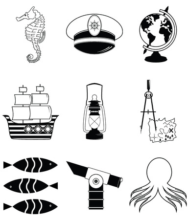 drawing compass: Nautical elements 2 including   seahorse, octopus, captains hat,  ship, drawing compass, treasure map, nautical style lamp, fish, globe, beach telescope