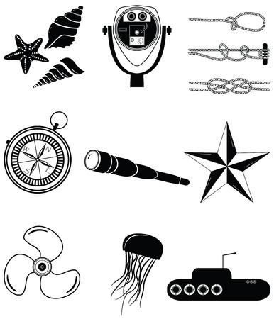 fish star: Elementos n�uticos 2 incluyendo conchas de mar. Pescados de la estrella, telescopio playa, nudos n�uticos, telescopio, estrella, medusas, submarino, comp�s de la vendimia y el elemento motor de la embarcaci�n