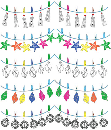 snorkelling: Nautical holiday bunting with seashells, flip flops, rudders, boats