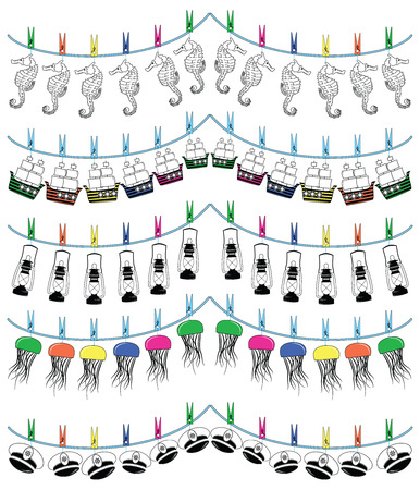 rudder ship: Nautical holiday bunting including  seahorse, captains hat with rudder, jellyfish, ship, nautical lamp