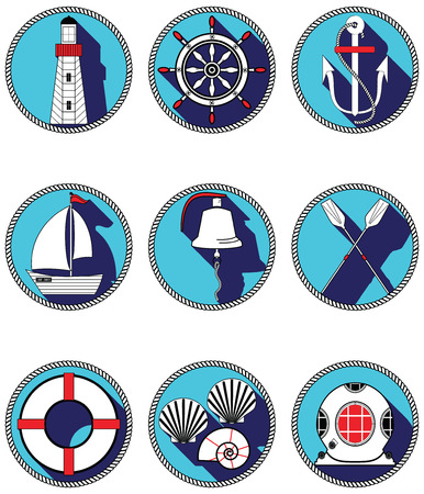 Nautical elements I icons in knotted circle including  boat bell, boat, oars, rudder, vintage diving mask, life ring, light house, sea shells and anchor Vector
