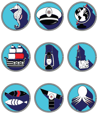 Nautical elements III icons in knotted circle including seahorse, octopus, captains hat,  ship, drawing compass, treasure map, nautical style lamp, fish, globe, beach telescope Vettoriali