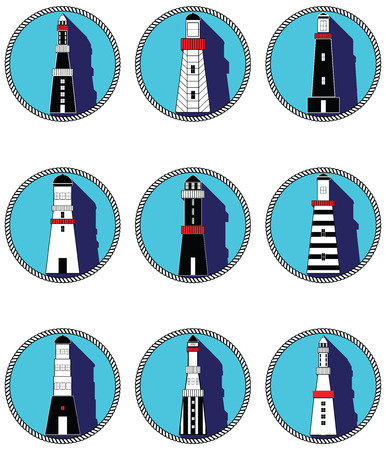 snorkelling: Lighthouses icons with vary stripes  shapes and windows elements in black and white design