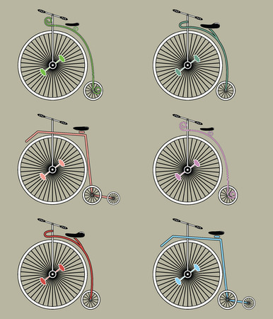 Vintage bicycles icons set 일러스트