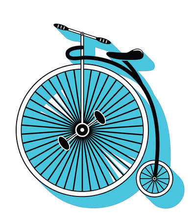 drop down: Vintage bike type 2 icon with a drop down shadow Illustration