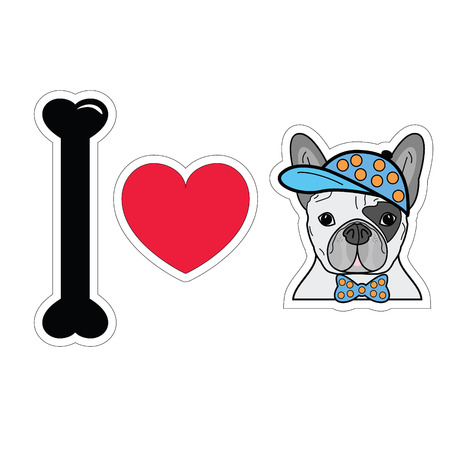 loveable: I love French bulldog hipster with a hat Illustration