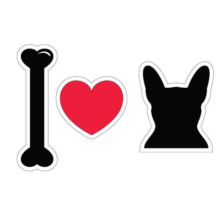 enamorados caricatura: Me encanta icono franc�s bulldog sticker normal en negro Vectores