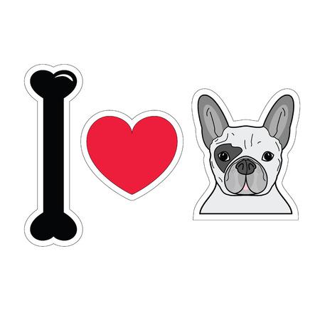 tacky: I love french bulldog plain sticker style icon