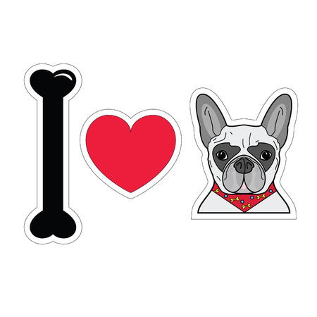 tacky: I love french bulldog wearing scarf with bones pattern Illustration