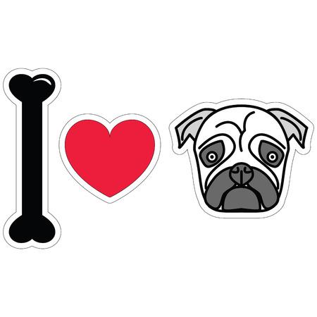 tacky: I LOVE PUGS PLAIN ICON STICKER STYLE Illustration