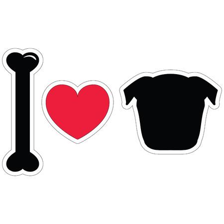 tacky: I LOVE PUGS PLAIN ICON STICKER STYLE IN BLACK Illustration