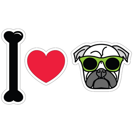 tacky: I LOVE PUGS PLAIN ICON with HIPSTER SUN GLASSES